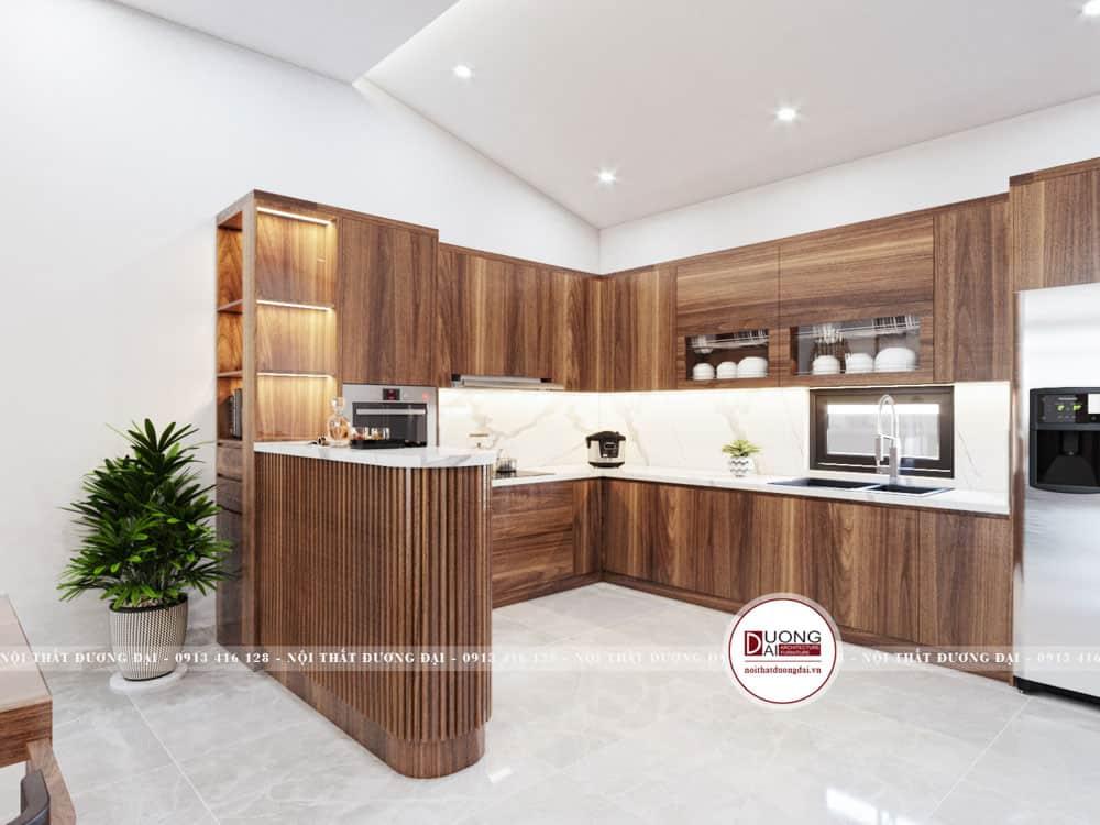 Mẫu tủ bếp gỗ MFC vân gỗ nâu trầm đầy sang trọng