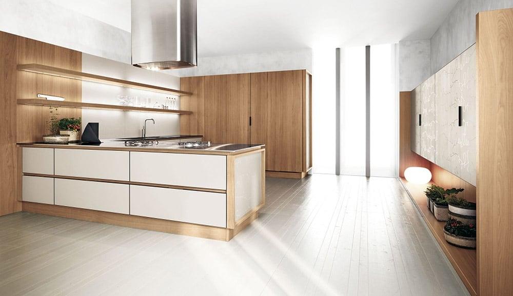 Thiết kế tủ màu trắng và vân gỗ sồi mộc mạc theo phong cách Bắc Âu