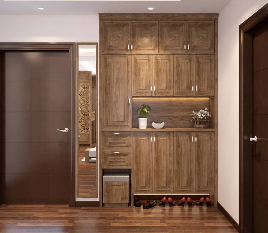 Thiết kế tủ màu nâu gỗ cao cấp