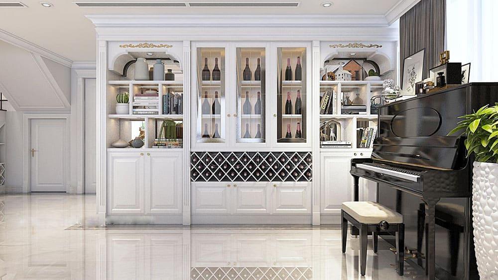 Thiết kế tủ rượu sang trọng với màu trắng quý phái cho phòng khách