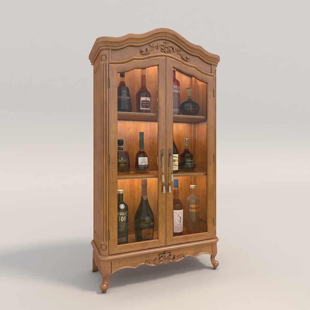 Tủ rượu 2 cánh tân cổ đầy cao quý từ gỗ tự nhiên