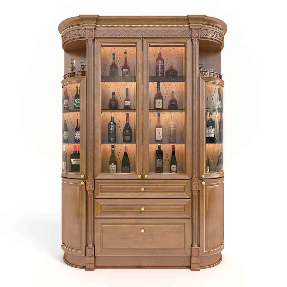 Thiết kế tủ rượu cong 4 cánh xa hoa và đầy cuốn hút