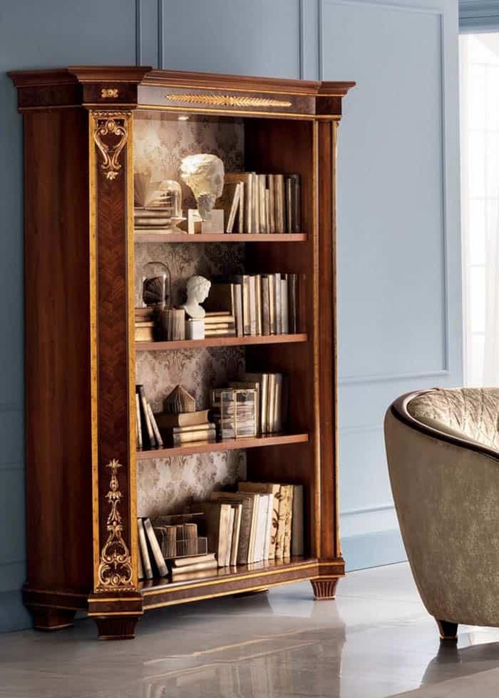 Mẫu tủ sách với hoa văn tân cổ điển ấn tượng