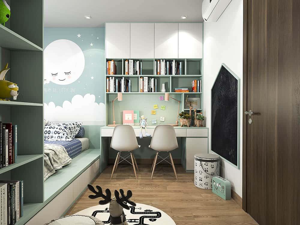 Thiết kế bàn màu trắng kết hợp màu xanh đầy đáng yêu cho bé gái