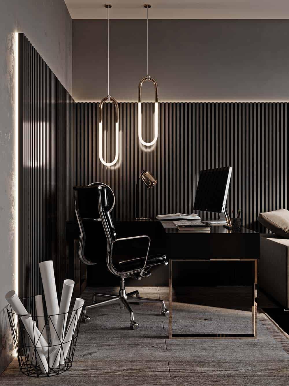 Thiết kế bàn gỗ phủ Acrylic bóng bẩy và xa hoa cho phòng làm việc nhỏ