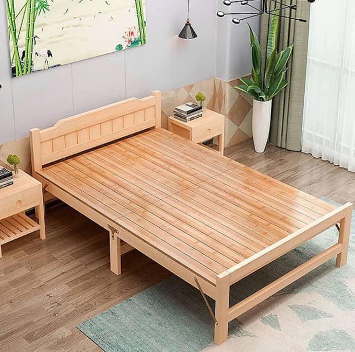 Mẫu giường ngủ 1 người làm từ gỗ thông