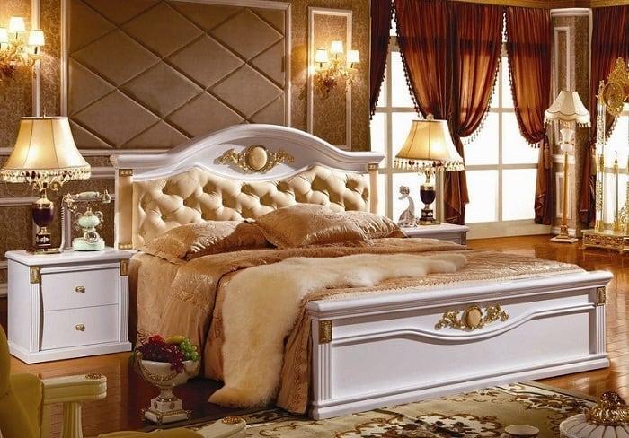 Không gian phòng ngủ sử dụng nội thất cao cấp nhất như gỗ tự nhiên quý hiếm, da thuộc,...