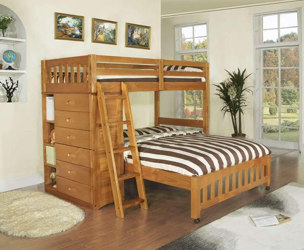 Mẫu giường gỗ sồi đặt vuông góc độc đáo
