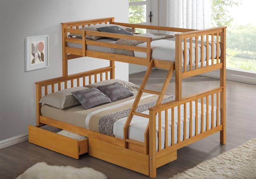 Mẫu giường đơn giản từ chất liệu gỗ sồi Nga