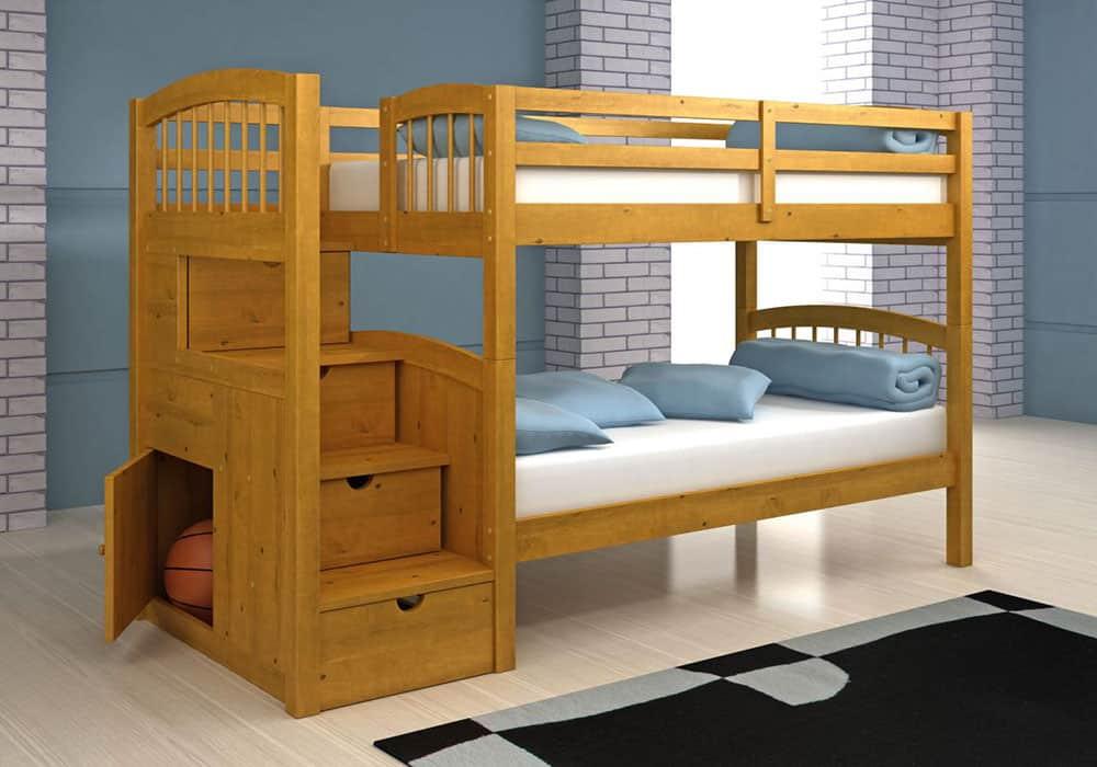 Mẫu giường có ngăn kéo đựng đồ ở cầu thang