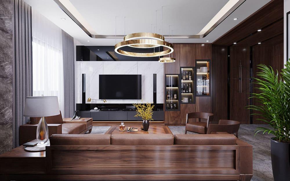 Không gian phòng khách hiện đại, thượng lưu với gam màu nâu trầm