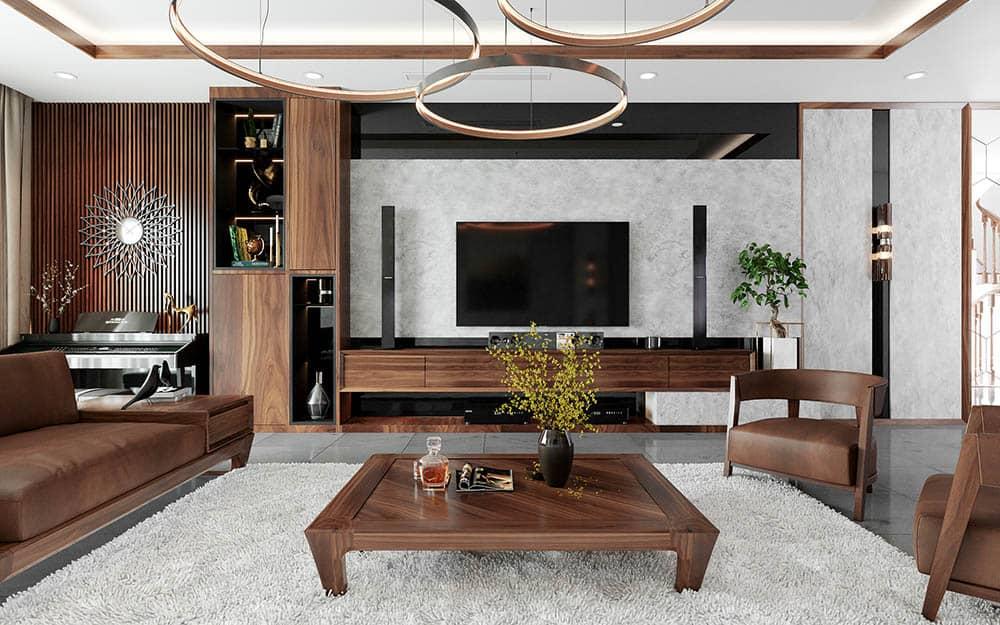 Thiết kế nội thất phong cách châu Âu hiện đại với gỗ óc chó