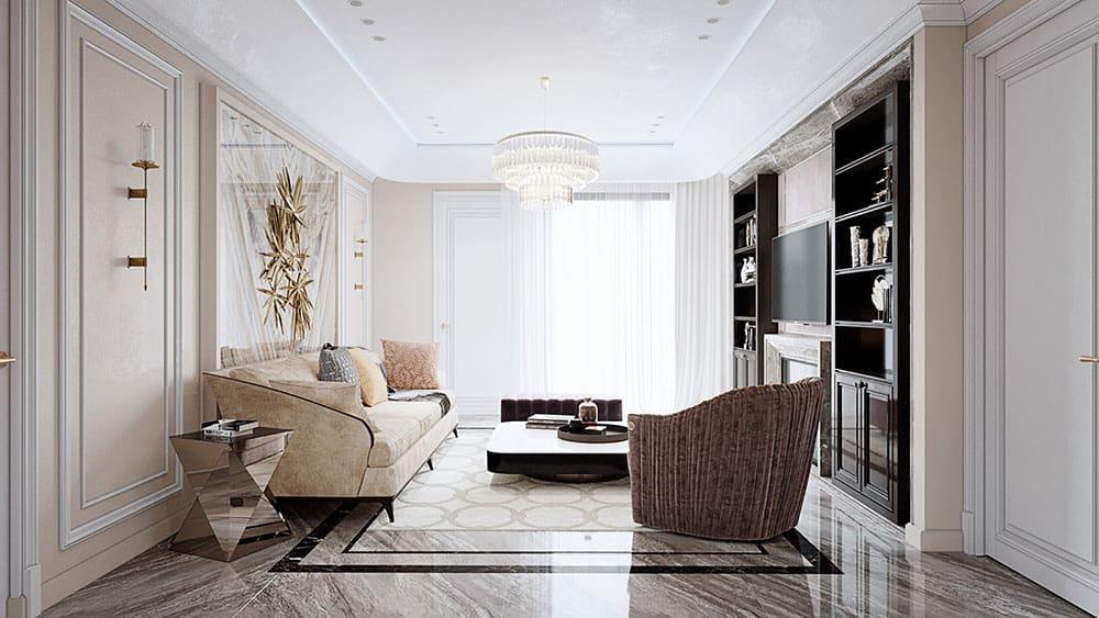 Phòng khách chung cư nên sử dụng gam màu trắng và dịu nhẹ