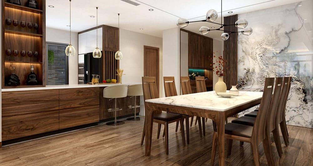 Thiết kế quầy dài liền tủ bếp từ gỗ MDF phủ Laminate vân gỗ