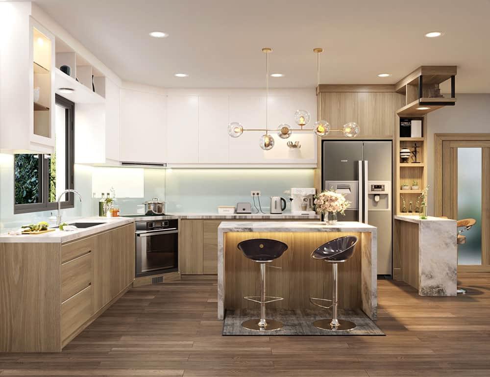 Mẫu thiết kế siêu tiện nghi với quầy bar và đảo bếp nhỏ xinh