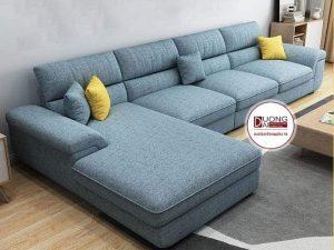 Sofa nỉ chữ L màu Xanh Dương - Kiểu dáng hiện đại, sang trọng