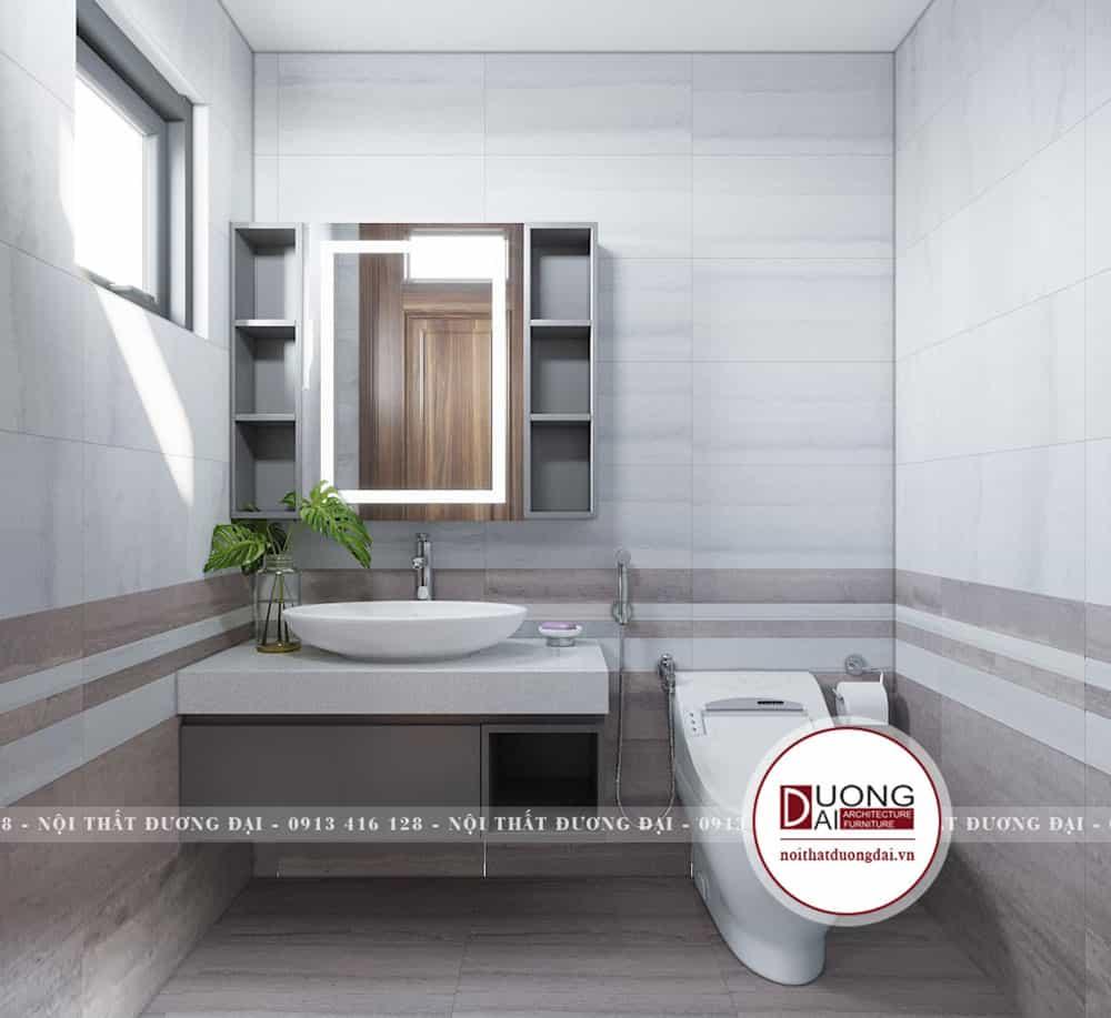 Kệ tủ đặt chậu rửa mặt và kệ treo tường cho phòng tắm