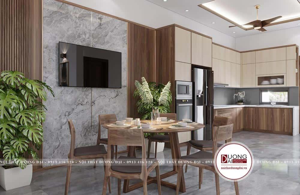 Thiết kế phòng bếp tiện nghi với bàn ăn 6 người gỗ óc chó