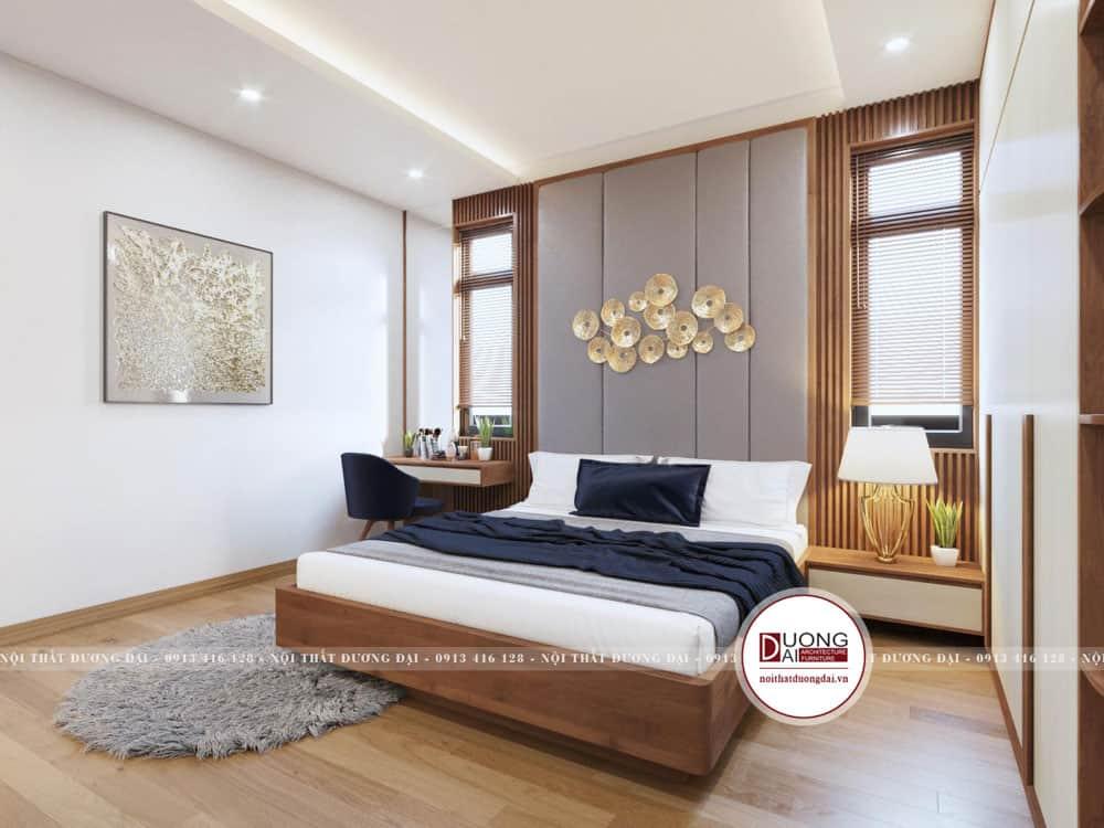 Thiết kế phòng ngủ có tủ quần áo 4 cánh lớn từ gỗ MFC