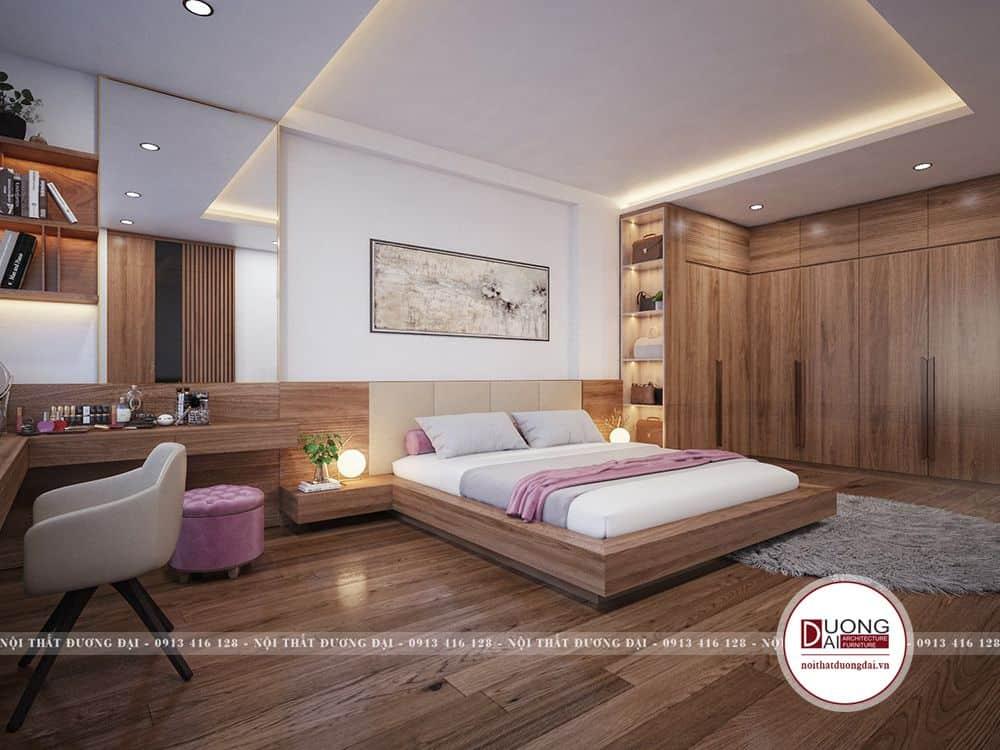 Phòng ngủ được bài trí chuẩn phong thủy, rộng rãi và tiện nghi