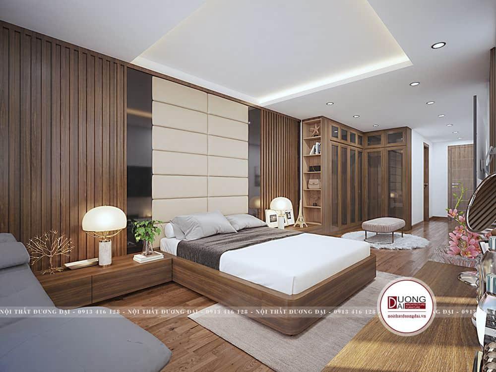 Không gian phòng ngủ hiện đại với nội thất gỗ óc chó