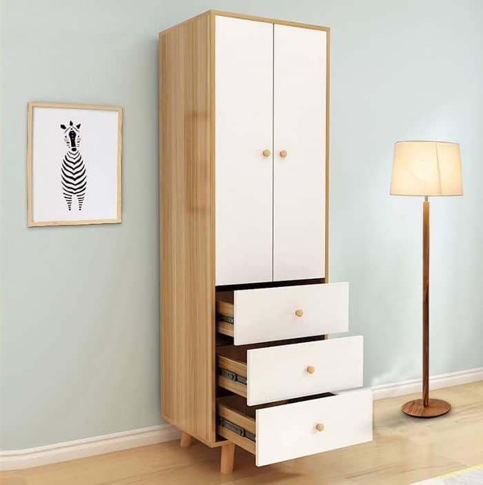 Thiết kế tủ quần áo 2 cánh gỗ MFC đơn giản