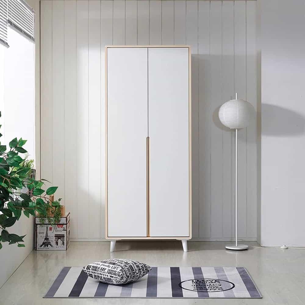 Thiết kế tủ 2 cánh màu trắng trang nhã cho phòng ngủ