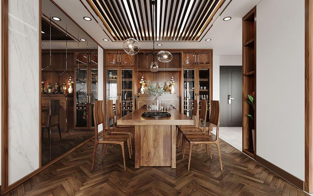 Thiết kế tủ rượu thượng lưu cho phòng ăn chung cư