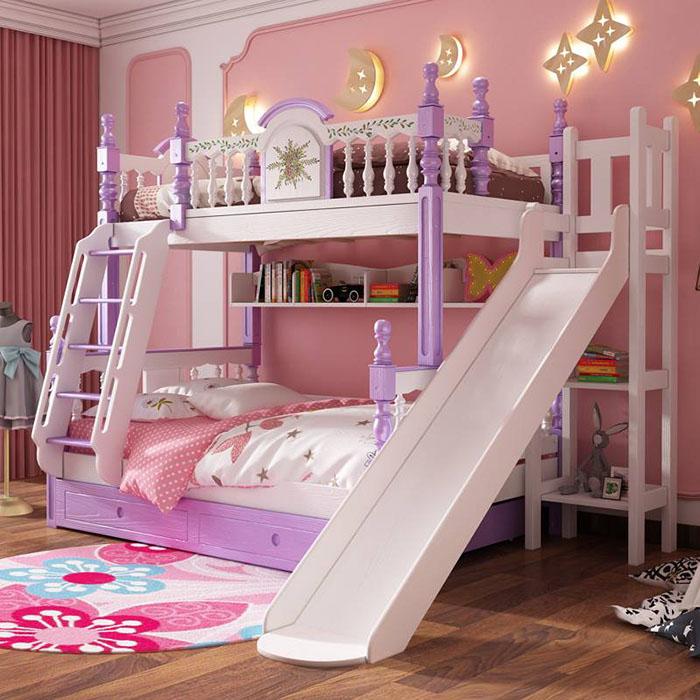 Giường ngủ như lâu đài nhỏ xinh màu hồng