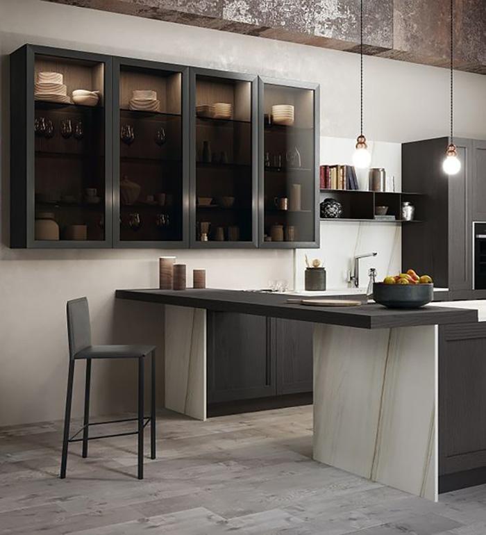 Thiết kế tủ cánh kính đựng rượu và chén dĩa cho nhà bếp