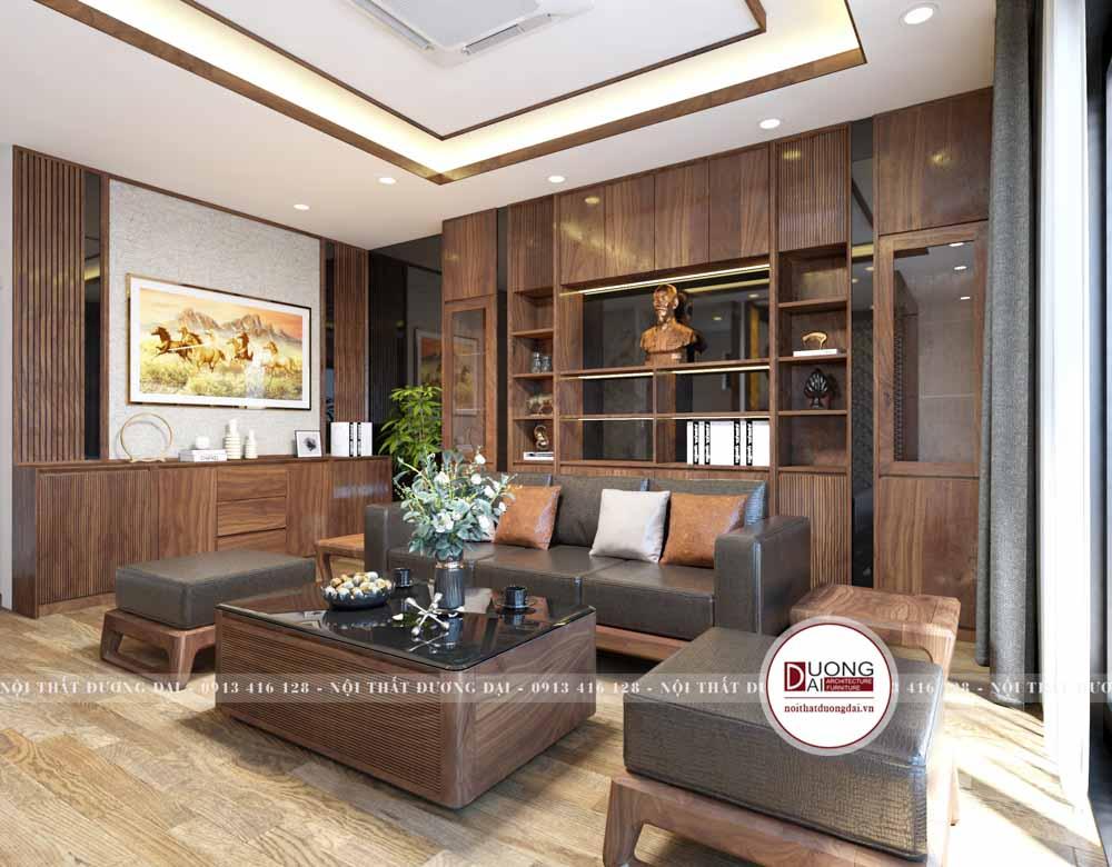 Phòng khách sang trọng với bộ sofa uy nghi từ gỗ óc chó