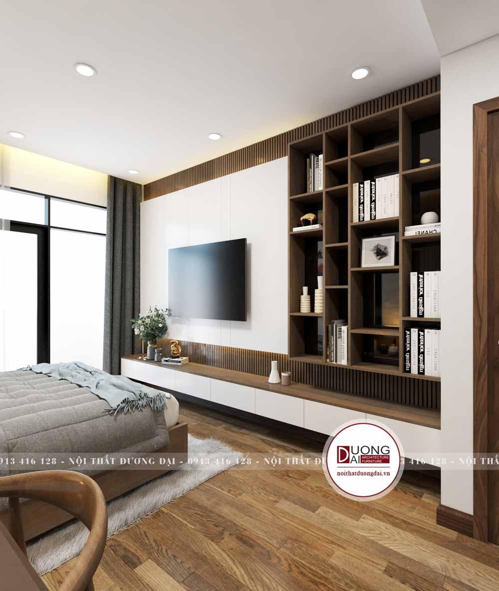 Phòng ngủ có tủ sách lớn kết hợp kệ tivi tiện nghi