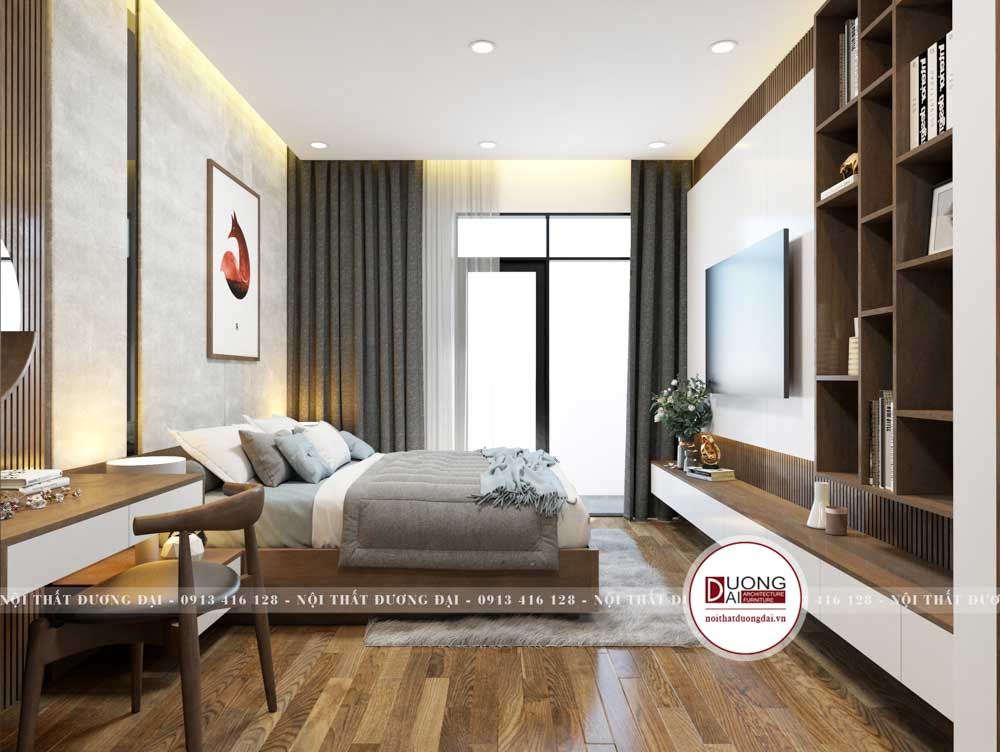 Không gian phòng ngủ rộng rãi và thông thoáng để nghỉ ngơi
