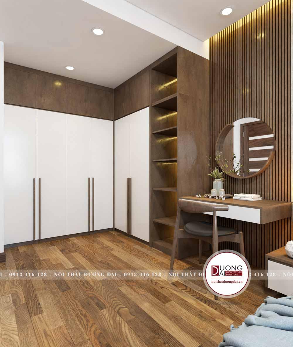 Tủ quần áo 6 cánh dùng gỗ MDF sơn trắng đầy trang nhã và ấm áp