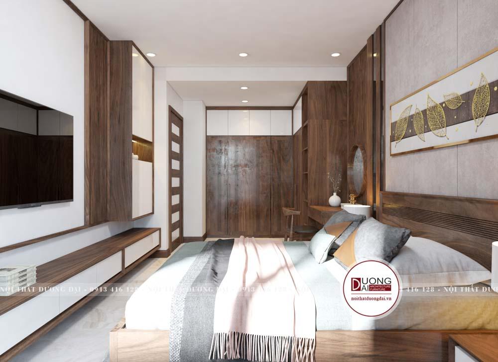 Thiết kế phòng ngủ rộng rãi và ấn tượng với nội thất cao cấp
