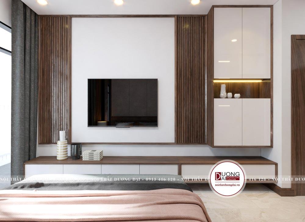 Kệ tivi và kệ trang trí màu trắng với chất liệu gỗ MDF