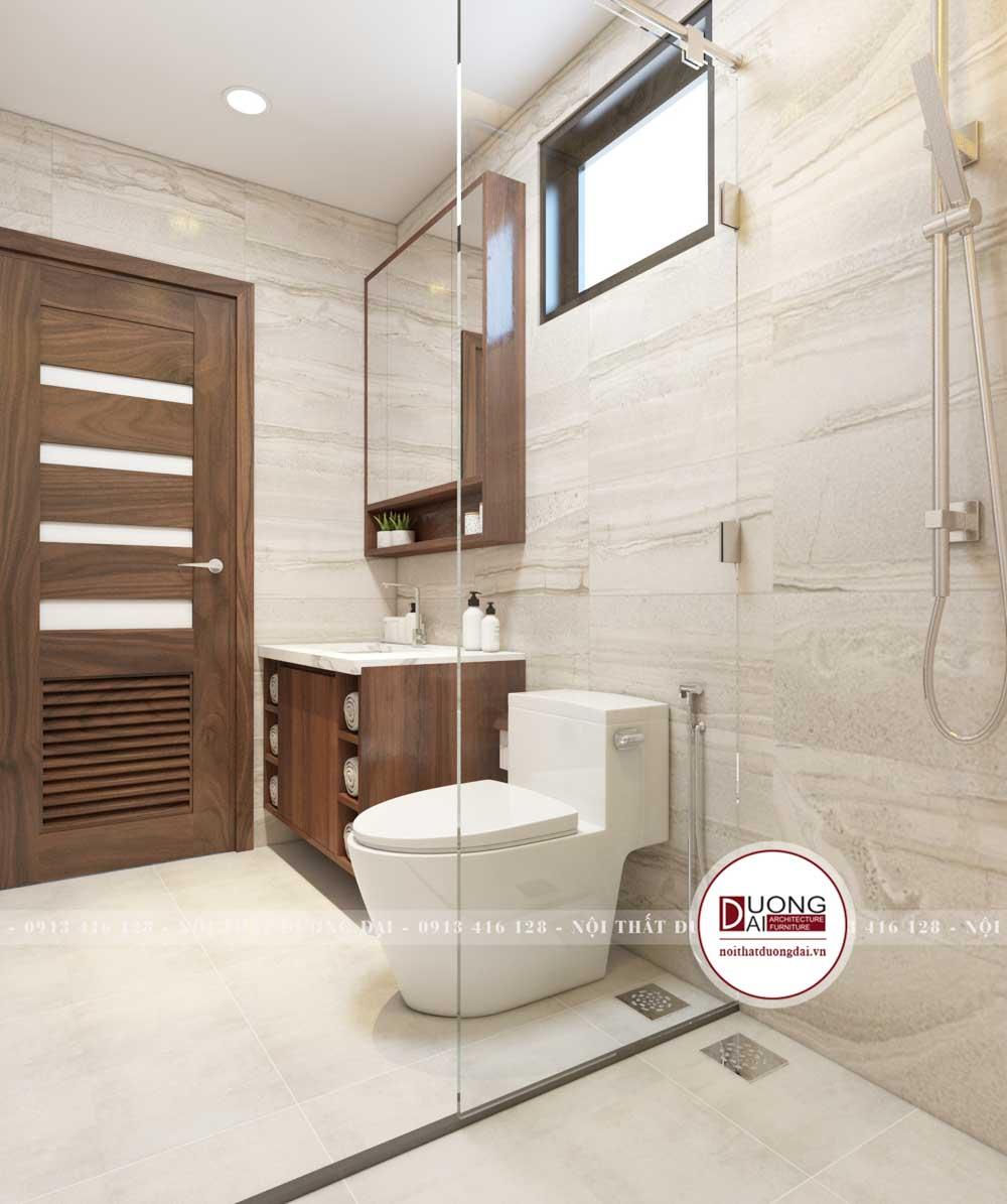 Phòng tắm lát đá chống trơn màu sắc dịu dàng, dễ chịu