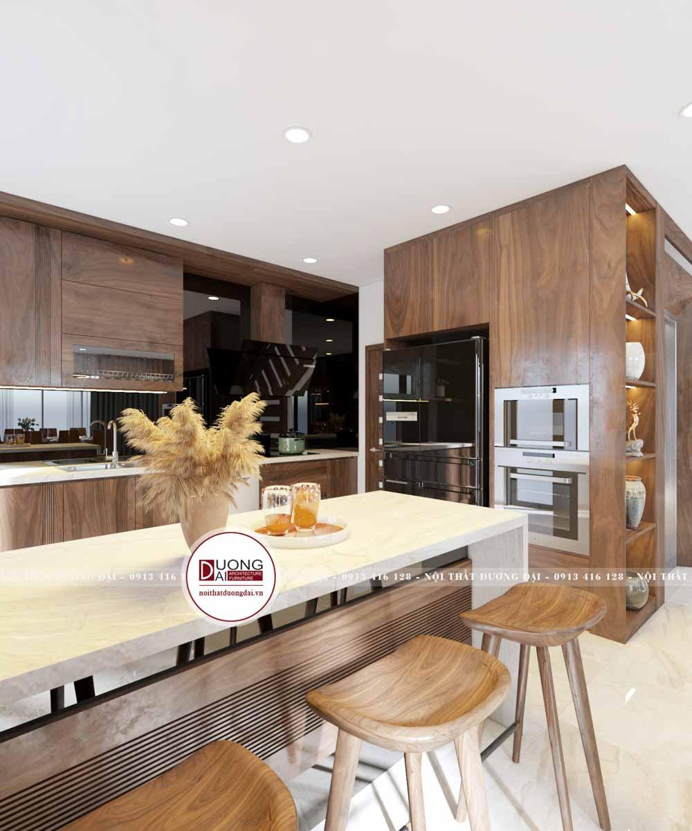 Tủ bếp gỗ óc chó tiện nghi với chức năng thông minh