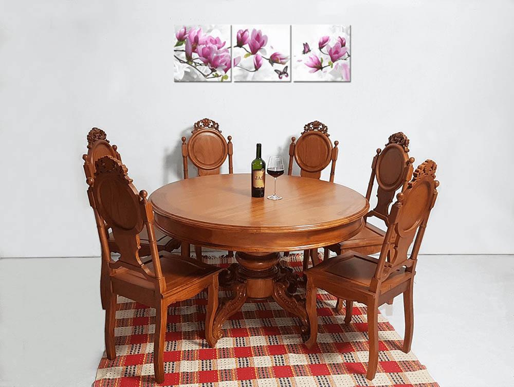 Bộ bàn ăn với màu đỏ trầm sang trọng