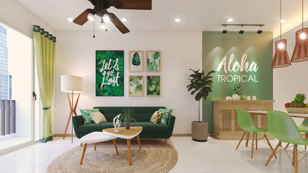 Thiết kế nội thất Tropical với màu xanh lá mát mẻ