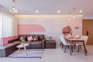 Thiết kế phòng khách gam màu hồng - trắng cá tính