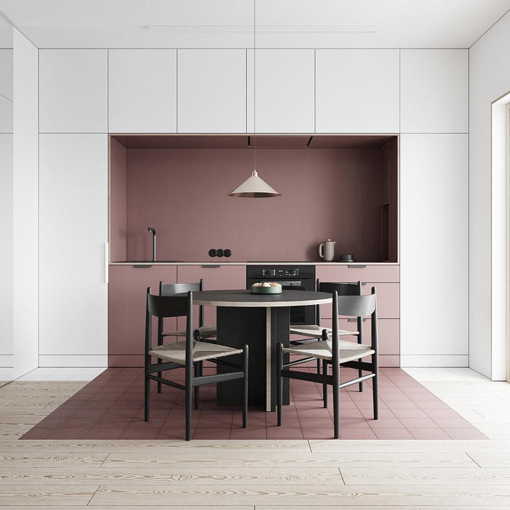 Phòng bếp với các khối màu tương phản giúp không gian rộng rãi hơn