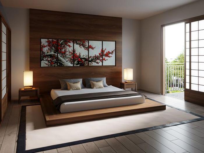Mẫu phòng ngủ đơn giản đầy ấm cúng với màu nâu gỗ trầm