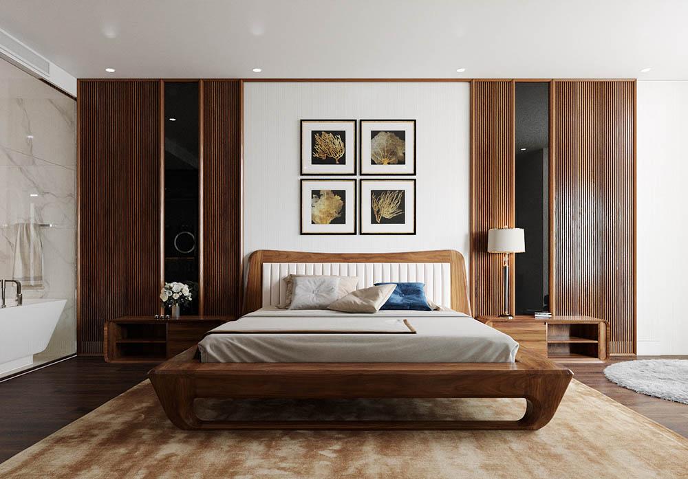 Giường ngủ và tủ đầu giường có màu nâu trầm ấn tượng