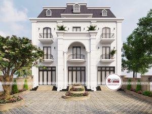 Biệt thự 3 tầng với cột trụ lớn uy nghi và đường phào chỉ đặc trưng tân cổ điển