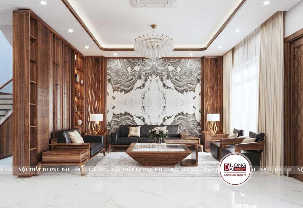 Phòng khách siêu hiện đại và đẳng cấp với nội thất gỗ óc chó