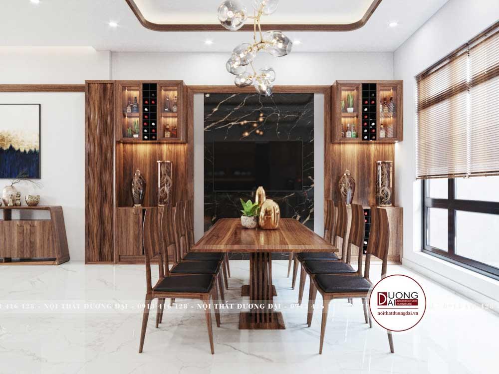 Bàn ăn 8 ghế gỗ óc chó sang trọng và tinh tế với phong cách hiện đại