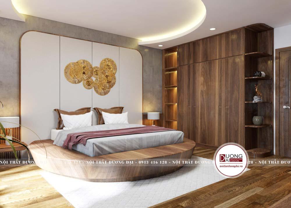 Giường ngủ tròn gỗ óc chó siêu độc đáo và đẳng cấp