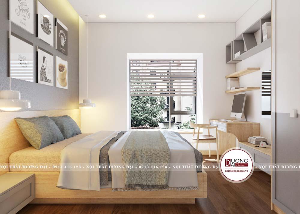 Giường ngủ gỗ màu vàng nhạt đầy ấm áp cho bé trai 15 tuổi