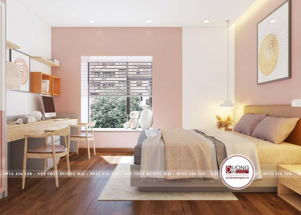 Màu hồng nhạt được sử dụng cho sơn tường và nội thất đầy ấm áp